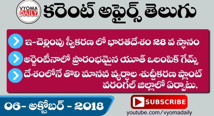 Daily Telugu Current Affairs And GK 06 October 2018